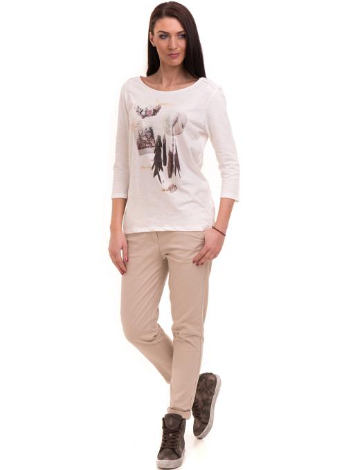 Дамска блуза FASHION FRIENDS с щампа 557 - цвят екрю C