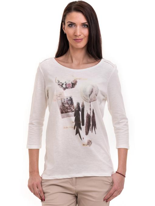 Дамска блуза FASHION FRIENDS с щампа 557 - цвят екрю