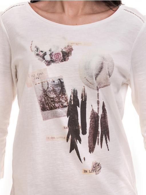 Дамска блуза FASHION FRIENDS с щампа 557 - цвят екрю D