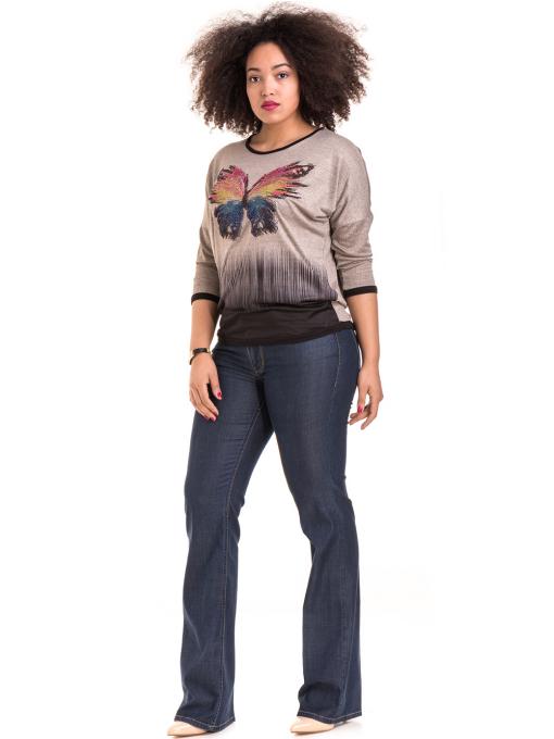 Дамска блуза GREEN APPLE с апликация 7024 - тъмно бежова C