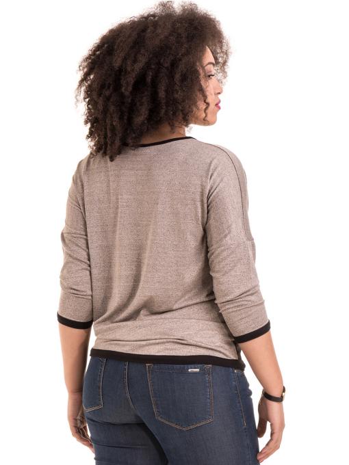 Дамска блуза GREEN APPLE с апликация 7024 - тъмно бежова B