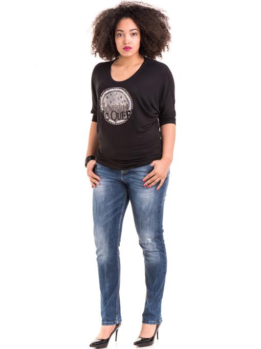 Дамска блуза GREEN APPLE с апликация 7046 - черна C