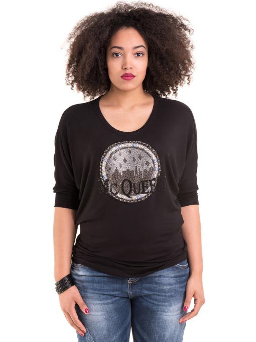 Дамска блуза GREEN APPLE с апликация 7046 - черна