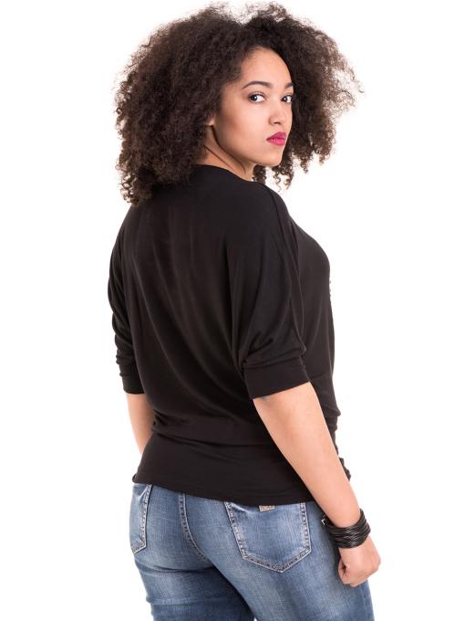 Дамска блуза GREEN APPLE с апликация 7046 - черна B