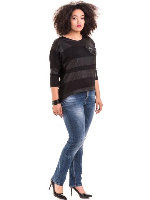 Дамска блуза GZT с щампа 7041 - черна C1