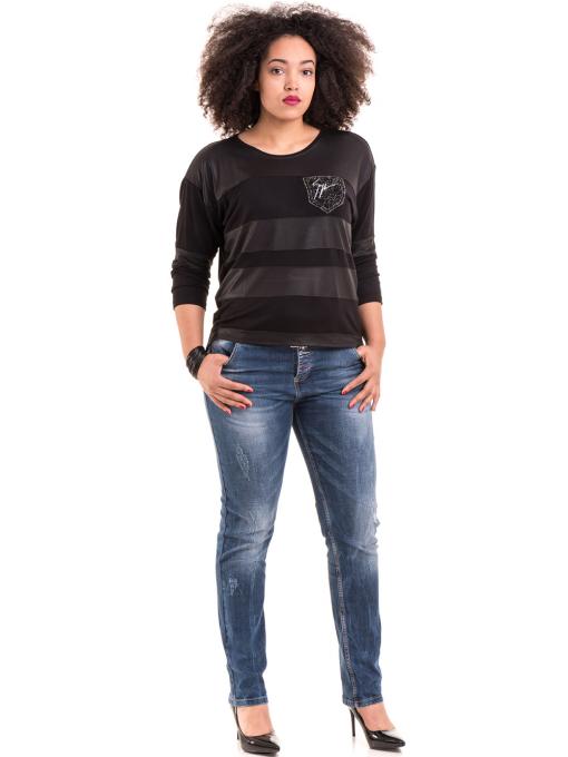 Дамска блуза GZT с щампа 7041 - черна C