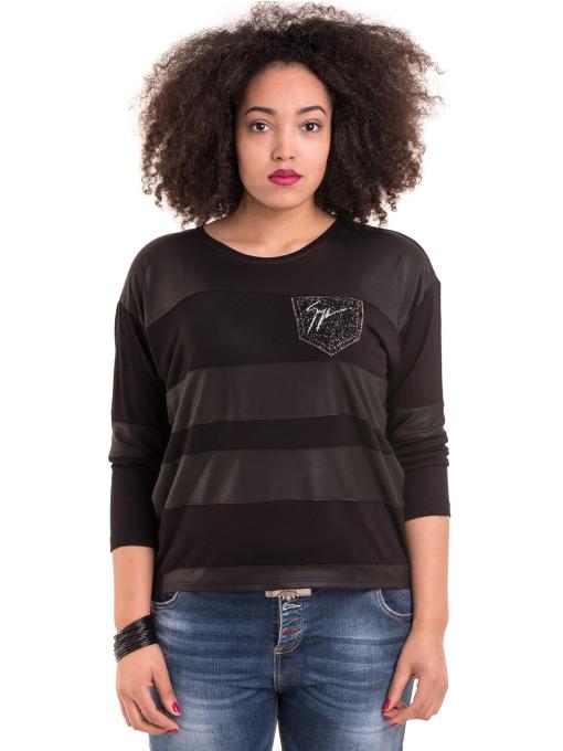 Дамска блуза GZT с щампа 7041 - черна