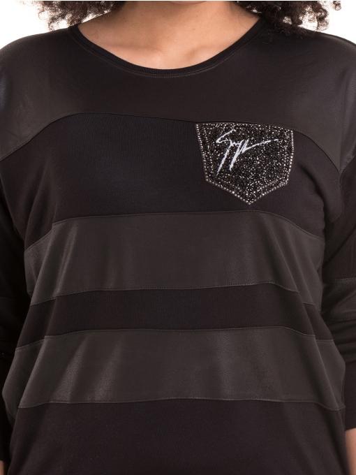 Дамска блуза GZT с щампа 7041 - черна D