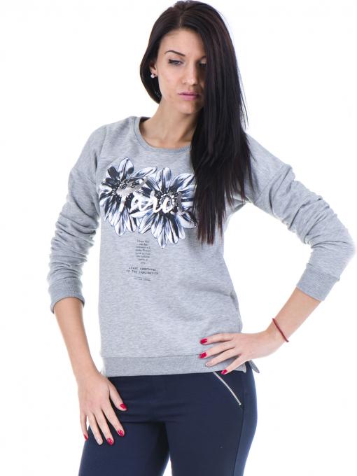 Дамска спортна блуза JOGGY GIRLS с щампа 5031 - светло сива