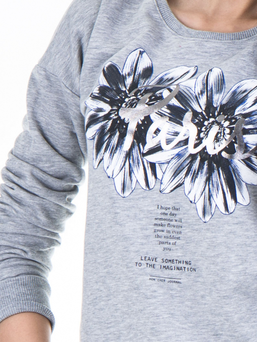 Дамска спортна блуза JOGGY GIRLS с щампа 5031 - светло сива D