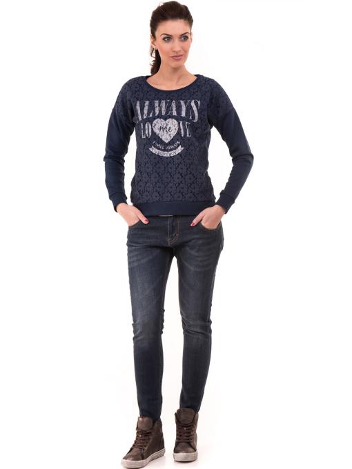 Дамска спортна блуза JOGGY GIRLS с щампа  5044 - цвят тъмно син C