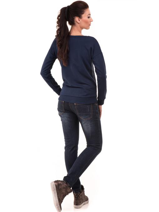 Дамска спортна блуза JOGGY GIRLS с щампа  5044 - цвят тъмно син E