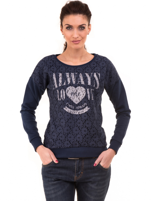 Дамска спортна блуза JOGGY GIRLS с щампа  5044 - цвят тъмно син