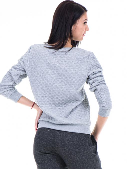 Дамска спортна блуза JOGGY GIRLS с щампа надпис 5068 - сива B