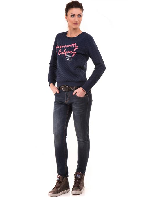 Спортна дамска блуза с щампа 5068 - цвят тъмно син В
