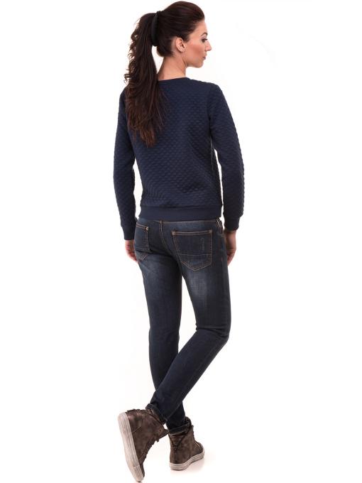 Спортна дамска блуза с щампа 5068  - цвят тъмно син Д
