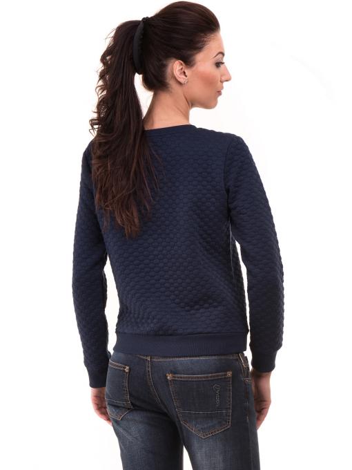 Спортна дамска блуза с щампа 5068 - цвят тъмно син Б