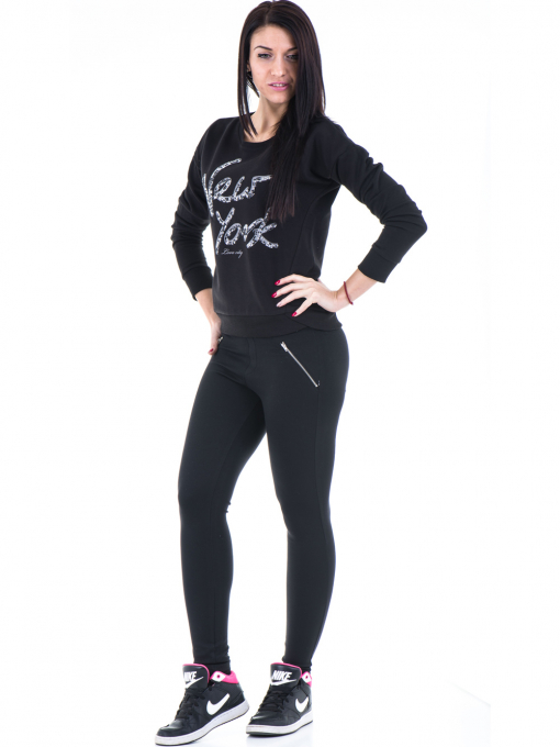 Дамска спортна блуза JOGGY GIRLS с щампа-надпис 5101- черна C