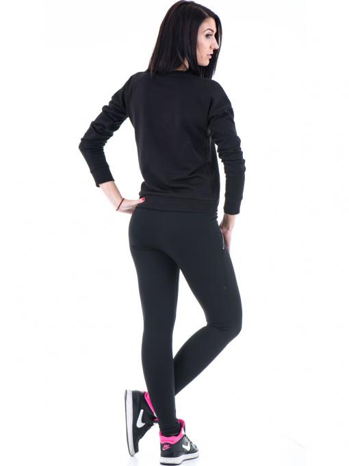 Дамска спортна блуза JOGGY GIRLS с щампа-надпис 5101- черна E
