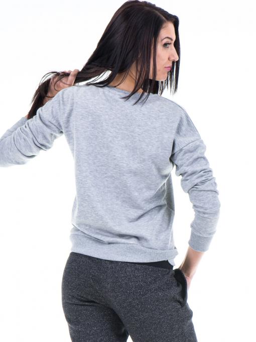 Дамска спортна блуза JOGGY GIRLS  с щампа-надпис 5101- светло сива B