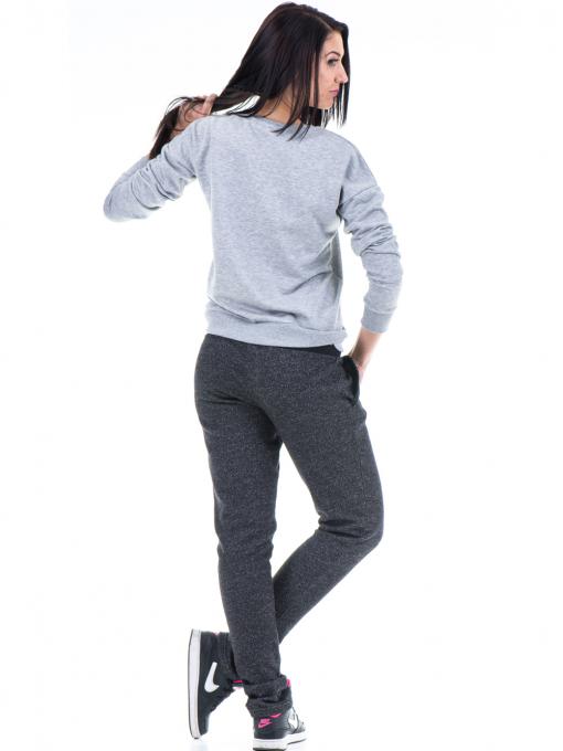 Дамска спортна блуза JOGGY GIRLS  с щампа-надпис 5101- светло сива E