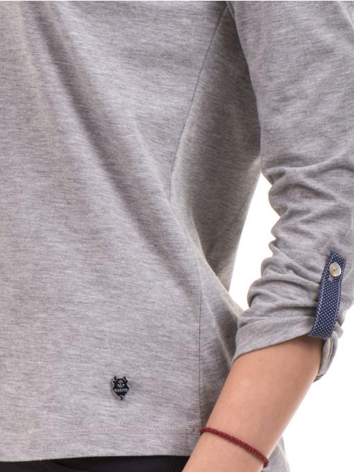 Дамска блуза JOGGY GIRLS с овално деколте 5159 - цвят сив D