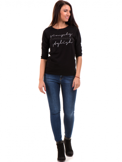 Дамска блуза JOGGY GIRLS с щампа-надпис 5494 - черна C