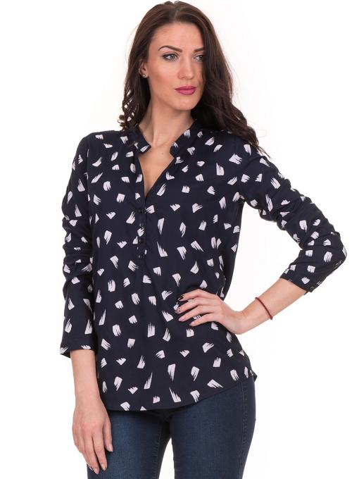Дамска блуза JOGGY GIRLS тип риза 5632- тъмно синя