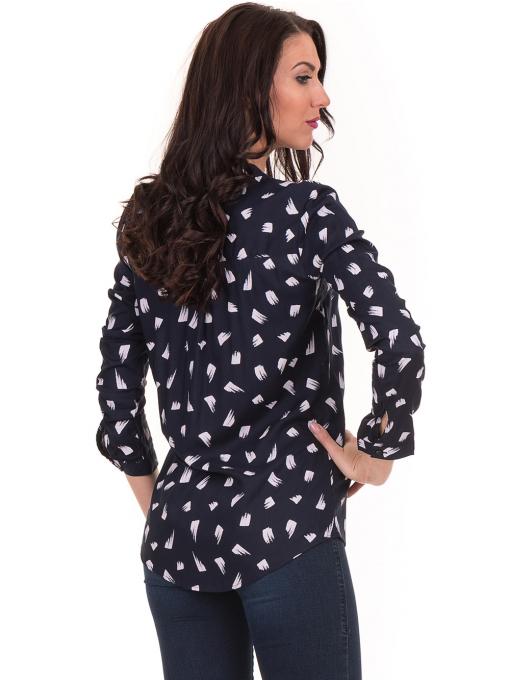 Дамска блуза JOGGY GIRLS тип риза 5632- тъмно синя B