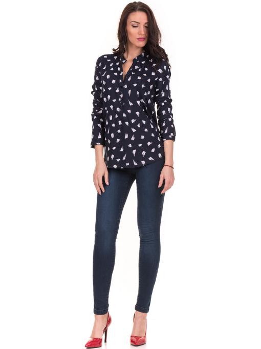 Дамска блуза JOGGY GIRLS тип риза 5632- тъмно синя C