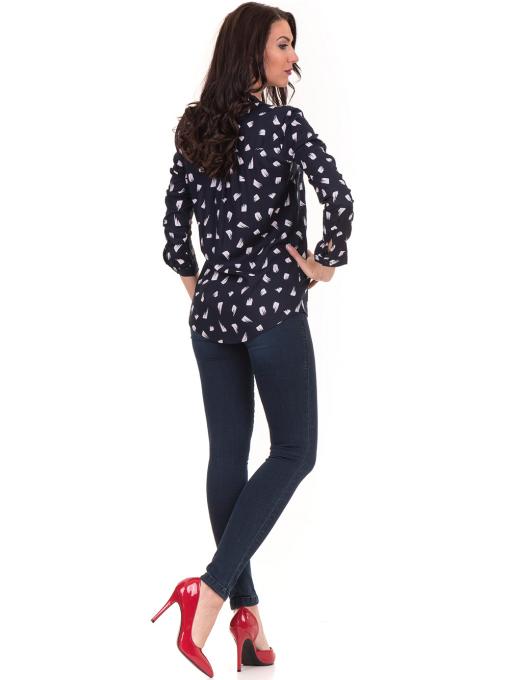Дамска блуза JOGGY GIRLS тип риза 5632- тъмно синя E