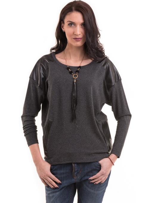 Дамска блуза свободен модел с колие 22748 - цвят антрацит