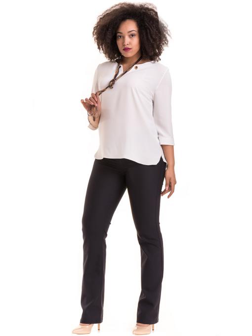 Елегантна дамска блуза с V-образно деколте 22875 - бяла E