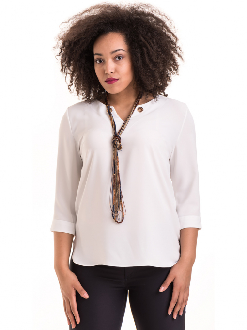 Елегантна дамска блуза с V-образно деколте 22875 - бяла