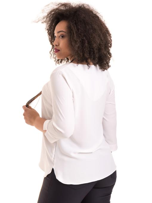 Елегантна дамска блуза с V-образно деколте 22875 - бяла B