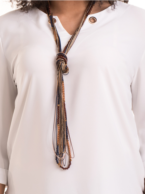 Елегантна дамска блуза с V-образно деколте 22875 - бяла D