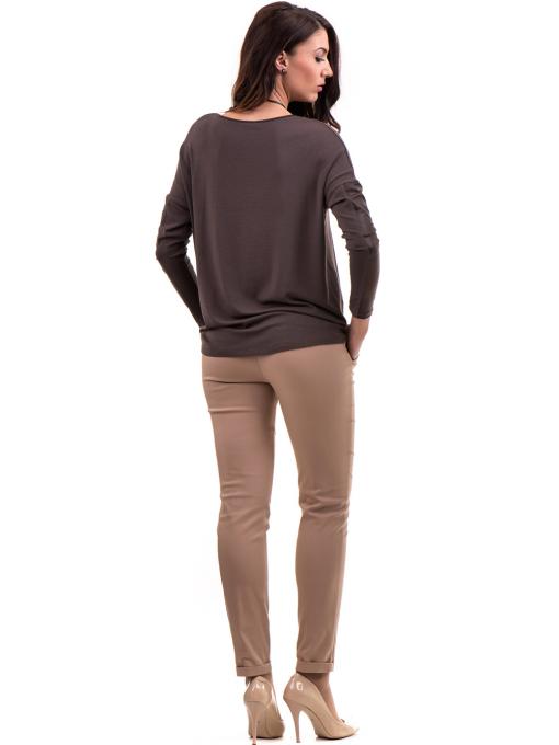 Дамска блуза JOVENNA с колие 22910 - кафява C