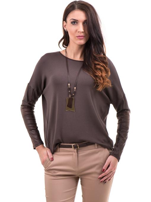 Дамска блуза JOVENNA с колие 22910 - кафява