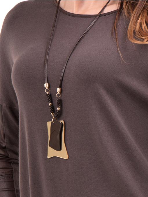 Дамска блуза JOVENNA с колие 22910 - кафява D