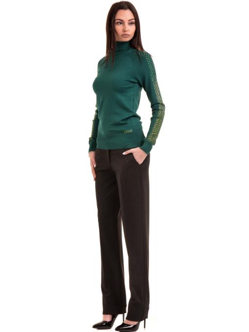 Дамски панталон F.L.M. с колан 901 - тъмно сив C1