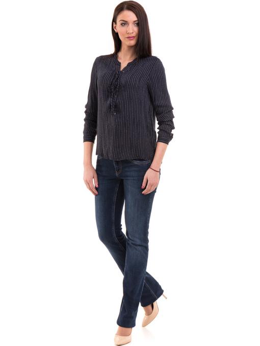 Дамска блуза KOTON с V-образно деколте 68304 - тъмно синя C1