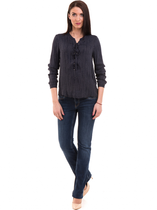 Дамска блуза KOTON с V-образно деколте 68304 - тъмно синя C
