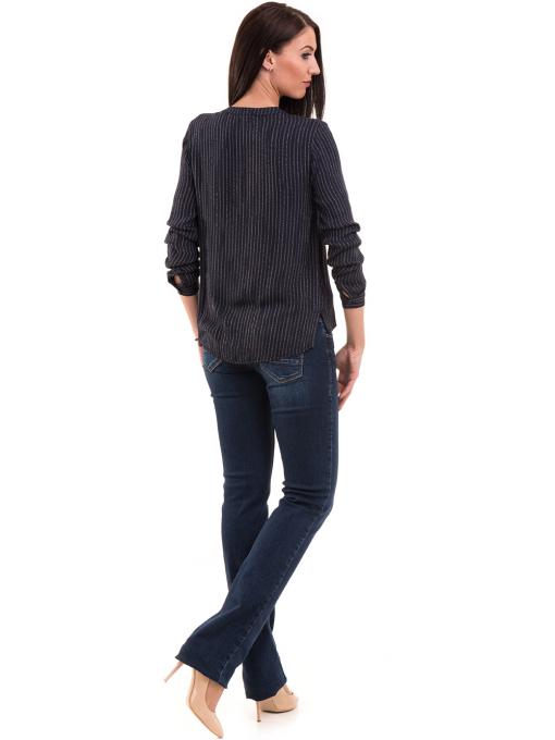 Дамска блуза KOTON с V-образно деколте 68304 - тъмно синя E