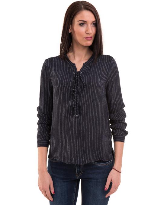 Дамска блуза KOTON с V-образно деколте 68304 - тъмно синя
