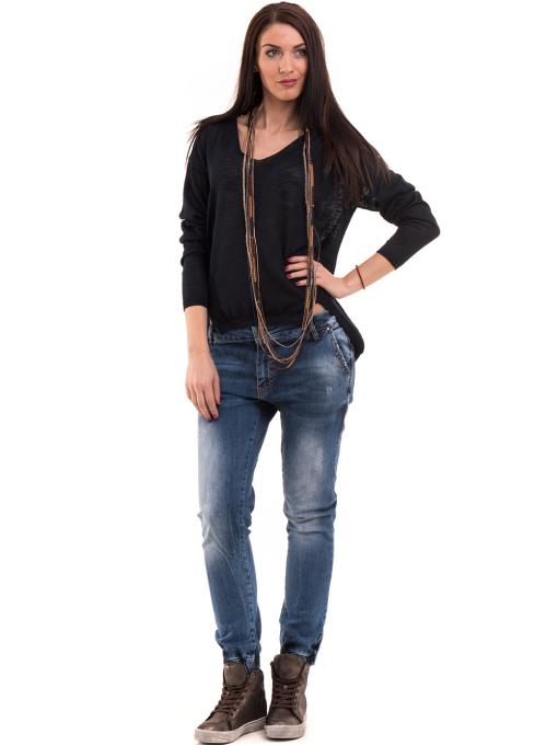 Дамска блуза KOTON с V-образно деколте 93828 - тъмно синя C
