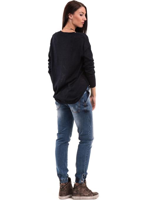 Дамска блуза KOTON с V-образно деколте 93828 - тъмно синя E
