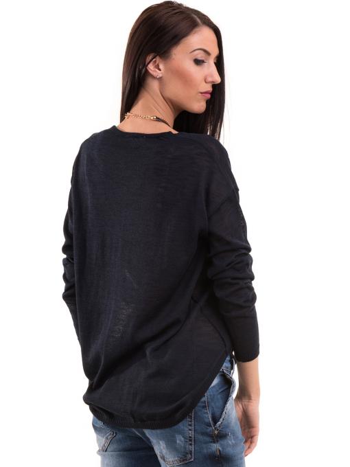 Дамска блуза KOTON с V-образно деколте 93828 - тъмно синя B