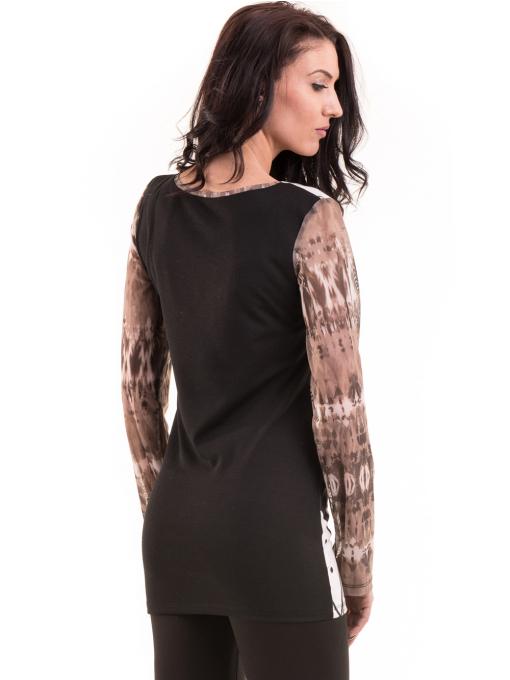 Дамска блуза с щампа LOVE COUSTUME  183 - тъмно бежова B