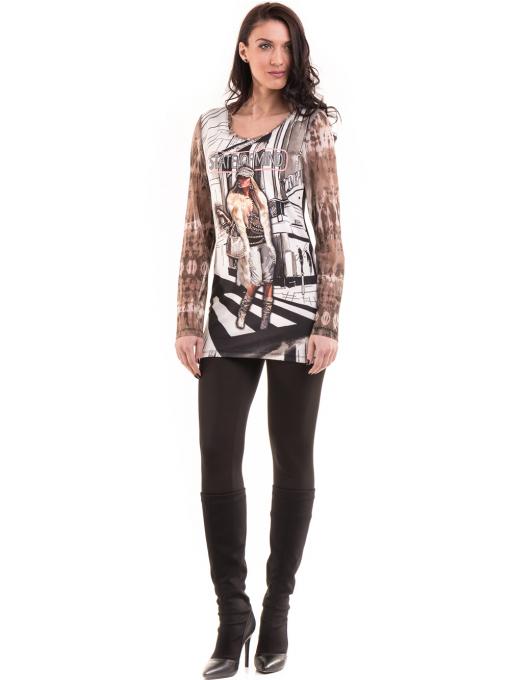 Дамска блуза с щампа LOVE COUSTUME 183 - цвят тъмно бежов C