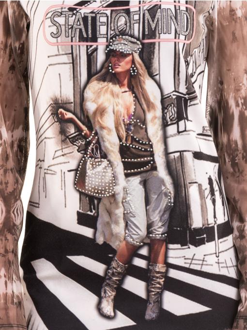 Дамска блуза с щампа LOVE COUSTUME 183 - цвят тъмно бежов D